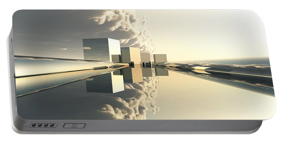 Abstractly Portable Battery Charger featuring the digital art Q-city Four by Max Steinwald