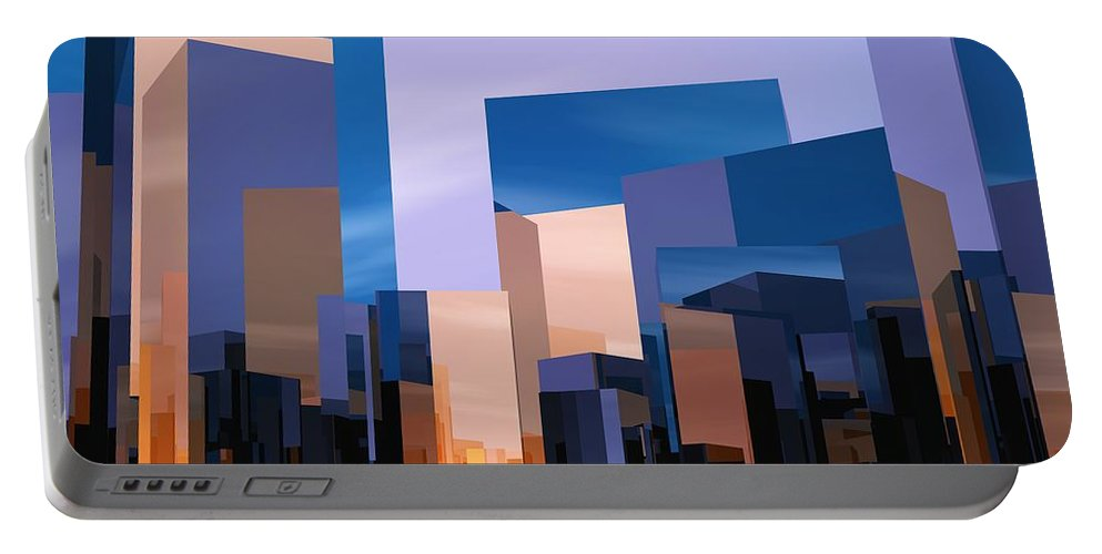 Abstractly Portable Battery Charger featuring the digital art Q-city One by Max Steinwald