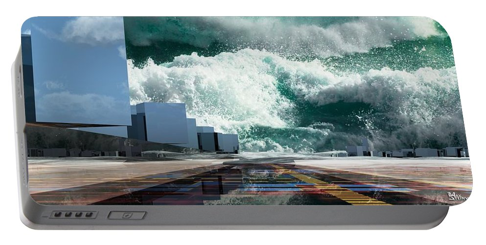 Abstractly Portable Battery Charger featuring the digital art Q-city Seven by Max Steinwald