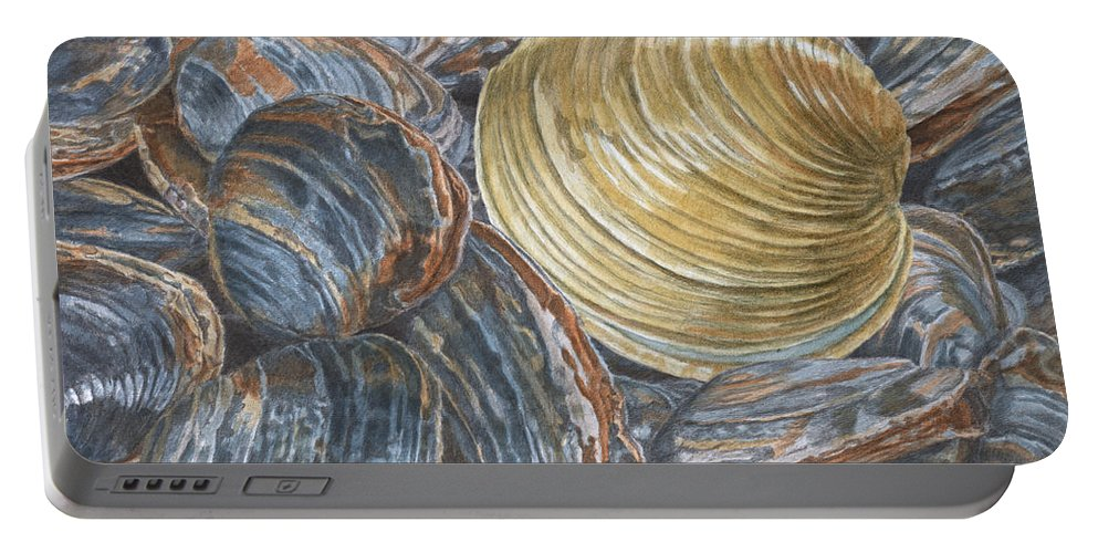 Quahog Portable Battery Charger featuring the painting Quahog On Clams by Dominic White