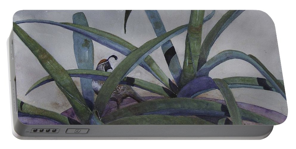 Quail Portable Battery Charger featuring the painting Quail Safe by Renee Chastant