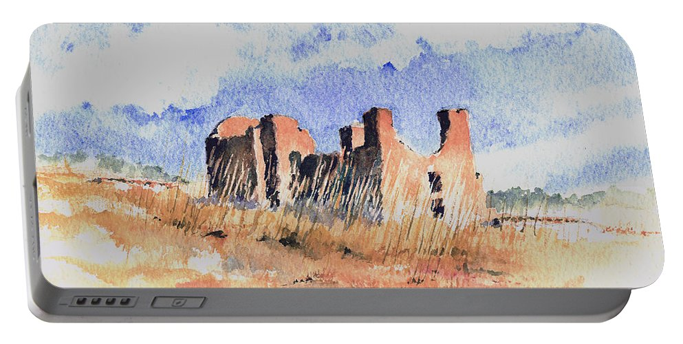New Mexico Portable Battery Charger featuring the painting Quarari Mission by Sam Sidders