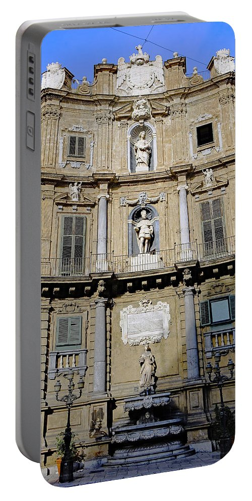 Palermo Portable Battery Charger featuring the photograph Quattro Canti In Palermo Sicily by Richard Rosenshein