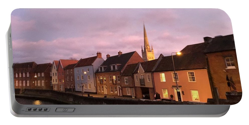Quayside Portable Battery Charger featuring the photograph Quayside Rosy Sunlight by Rob Murphy