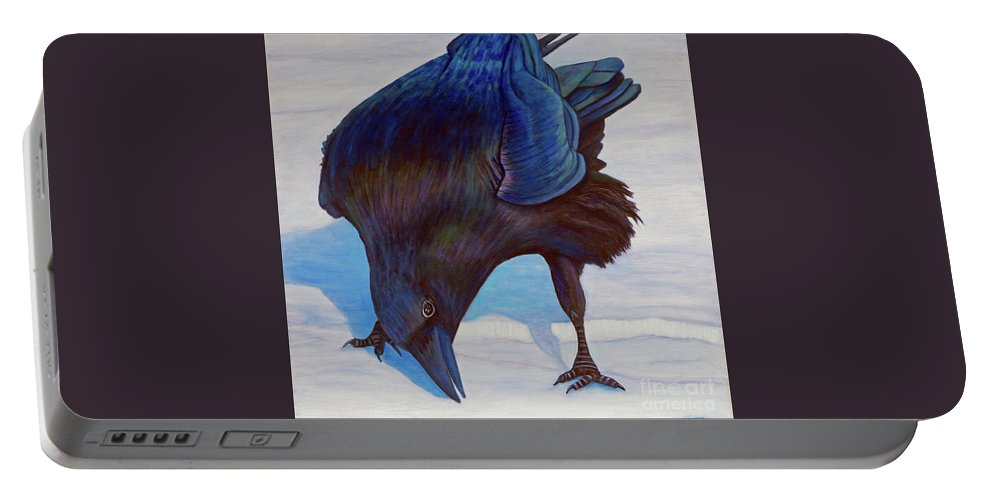 Raven Portable Battery Charger featuring the painting Que Pasa by Brian Commerford