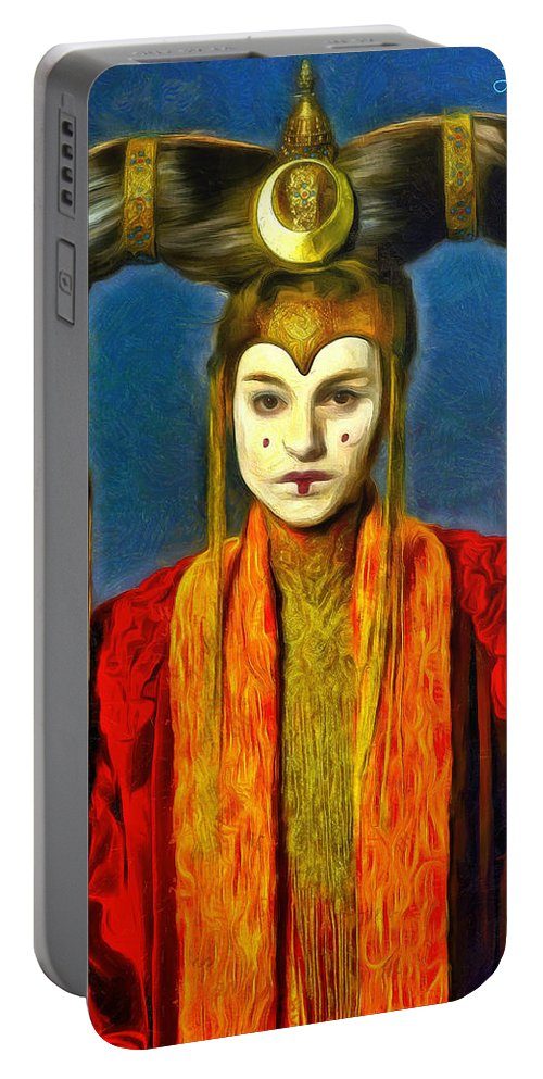 Star Wars 7 Portable Battery Charger featuring the painting Queen Amidala Senate Costume by Leonardo Digenio
