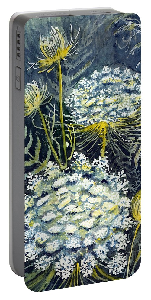 Wildflowers Portable Battery Charger featuring the painting Queen Anne's Lace by Katherine Miller
