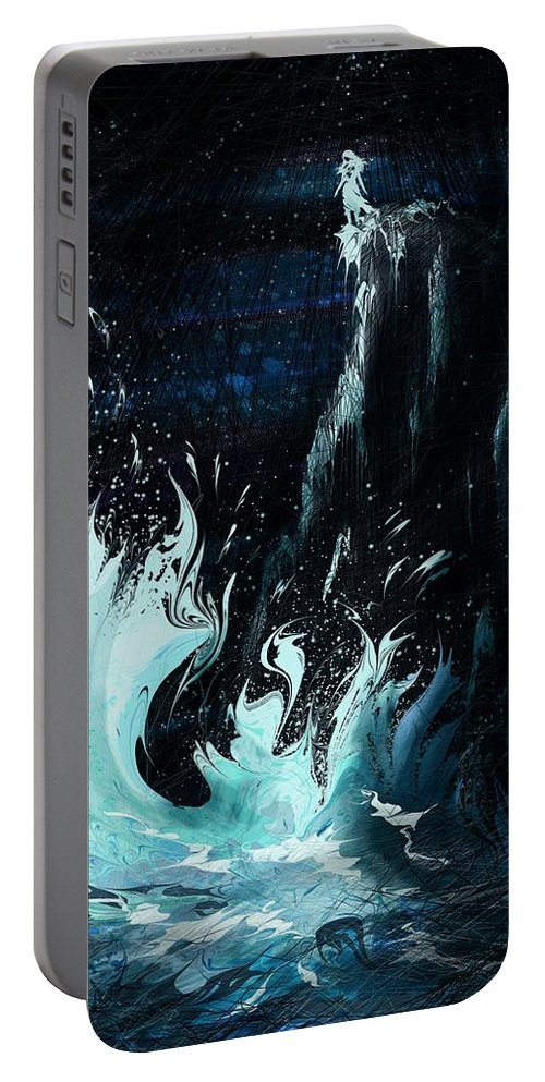 Abstract Portable Battery Charger featuring the digital art Queen of the Seas by William Russell Nowicki