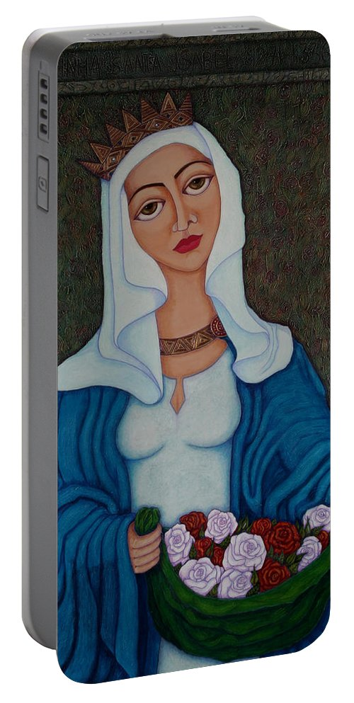 Queen St Isabel Portable Battery Charger featuring the painting Queen St Isabel - The Miracle Of The Roses by Madalena Lobao-Tello