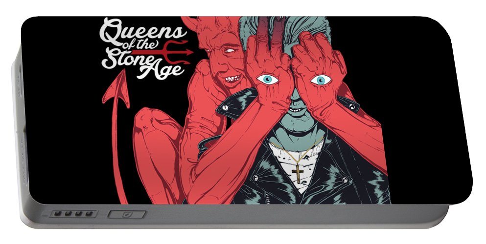 Queens Of The Stone Age Portable Battery Charger featuring the digital art Queens Of The Stone Age by Raisya Irawan