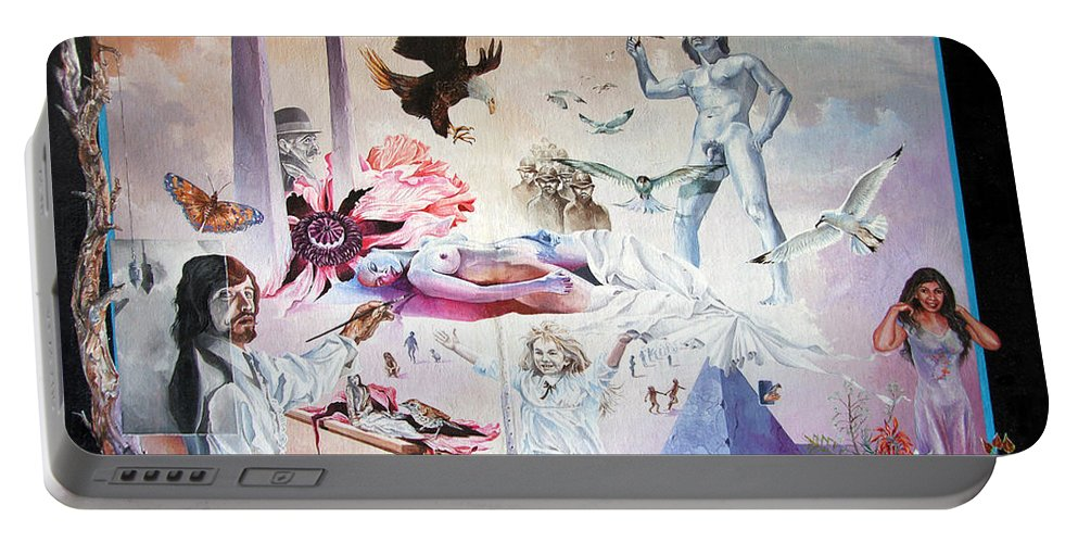 Surrealism Portable Battery Charger featuring the painting Quiet Afternoon At The Studio by Otto Rapp