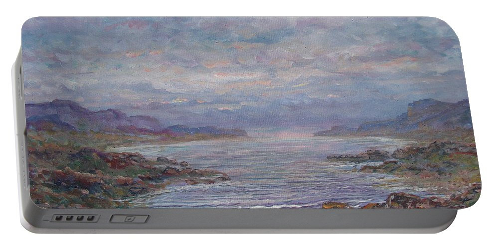 Painting Portable Battery Charger featuring the painting Quiet Bay. by Leonard Holland
