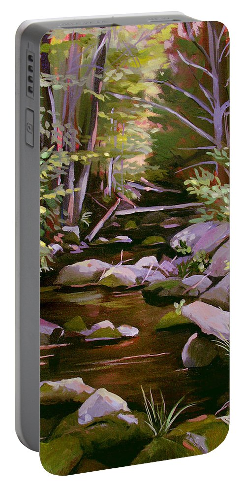 Peoples State Forest Portable Battery Charger featuring the painting Quiet Brook by Nancy Griswold