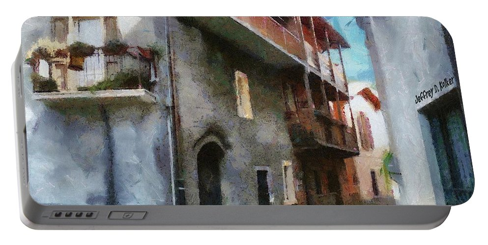Almenno San Salvatore Portable Battery Charger featuring the painting Quiet In Almenno San Salvatore by Jeffrey Kolker