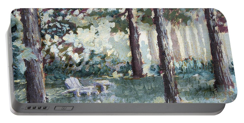 Landscape Portable Battery Charger featuring the painting Quiet Place by Todd Blanchard