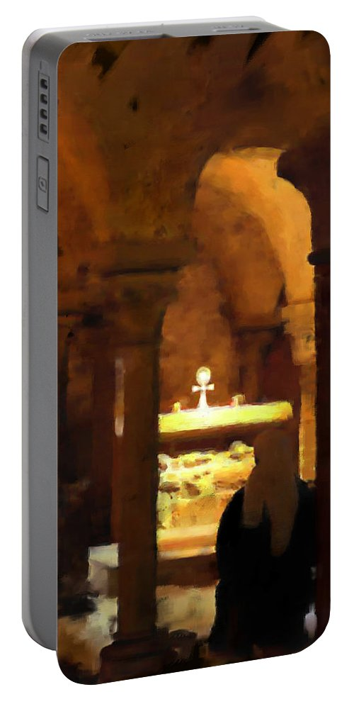 Prayer Portable Battery Charger featuring the painting Quiet Prayers by Stephen Lucas