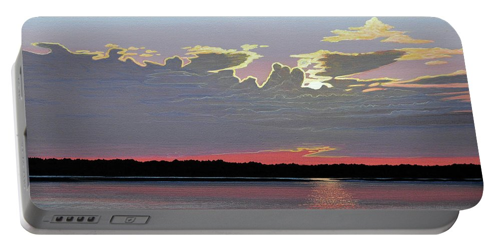 Landscape Portable Battery Charger featuring the painting Quiet Reflection II by Kenneth M Kirsch