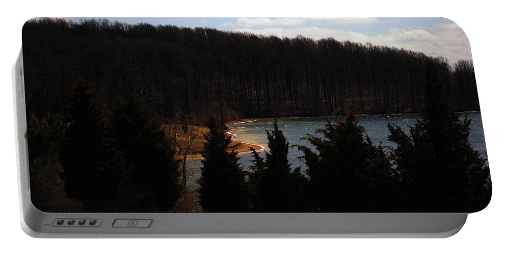 Landscape Portable Battery Charger featuring the photograph Quiet Shoreline by Lori Tambakis