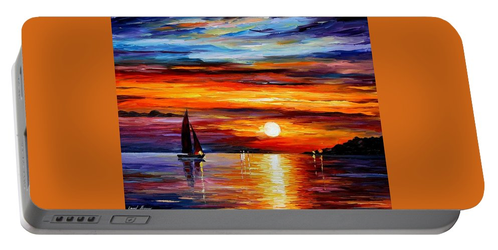 Afremov Portable Battery Charger featuring the painting Quiet Sunset by Leonid Afremov