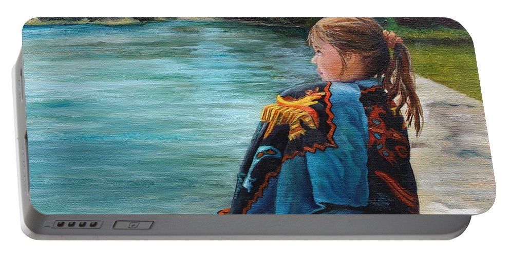 Little Girl Portable Battery Charger featuring the painting Quiet Time by Rebecca Hauschild