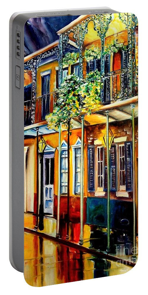 New Orleans Portable Battery Charger featuring the painting Quiet Vieux Carre by Diane Millsap