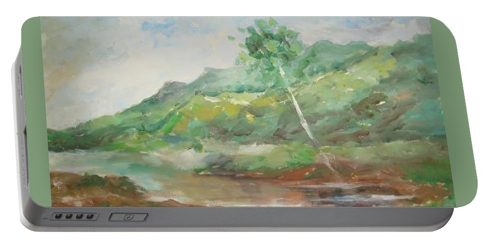 Landscape Portable Battery Charger featuring the painting Quietness by Rushan Ruzaick