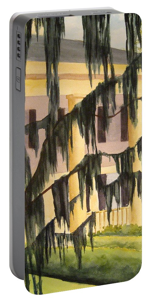 Buildings Portable Battery Charger featuring the painting Quinby Plantation by Julia RIETZ