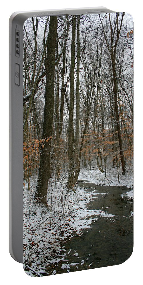 Forest Woods Water Winter Tree Snow Cold Season Nature Portable Battery Charger featuring the photograph Quite Path by Andrei Shliakhau