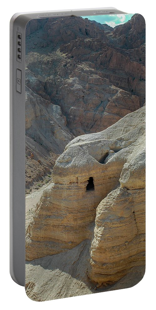 Landscape Portable Battery Charger featuring the photograph Qumran Cave by Javier Flores