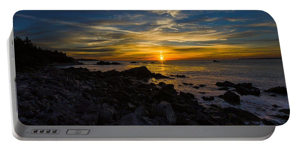 Quoddy Head State Park Portable Battery Charger featuring the photograph Quoddy Head State Park Sunrise Panorama by Marty Saccone