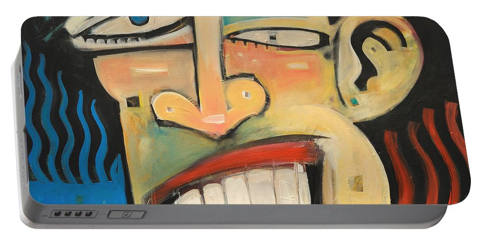 Jazz Portable Battery Charger featuring the painting R And B by Tim Nyberg