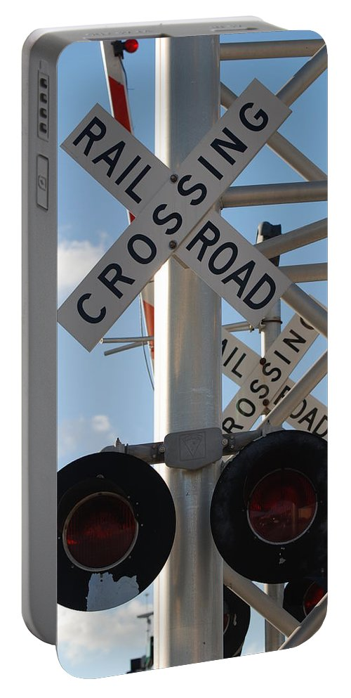 Train Portable Battery Charger featuring the photograph R X R Crossing by Rob Hans