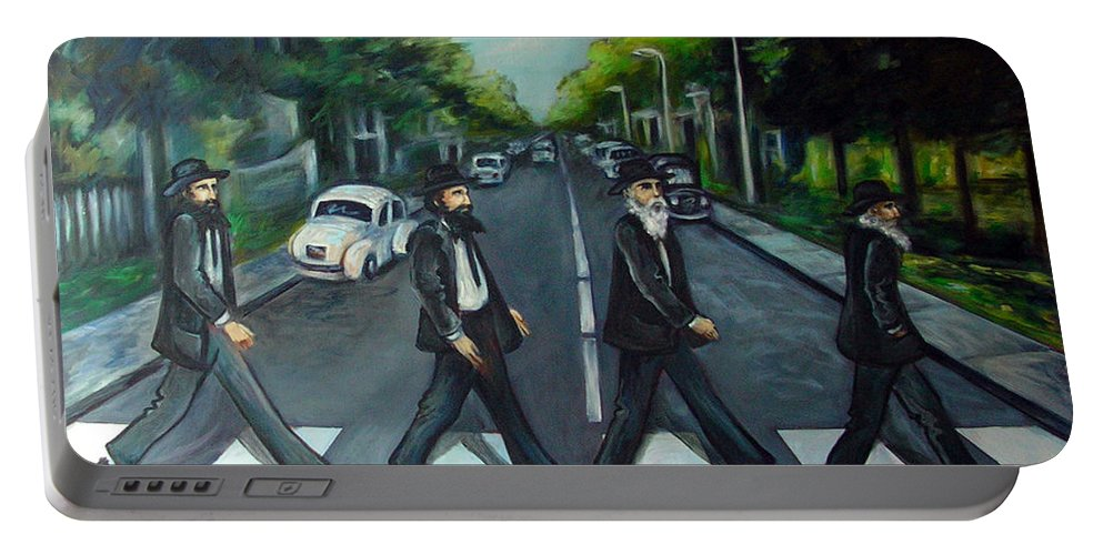 Surreal Portable Battery Charger featuring the painting Rabbi Road by Valerie Vescovi