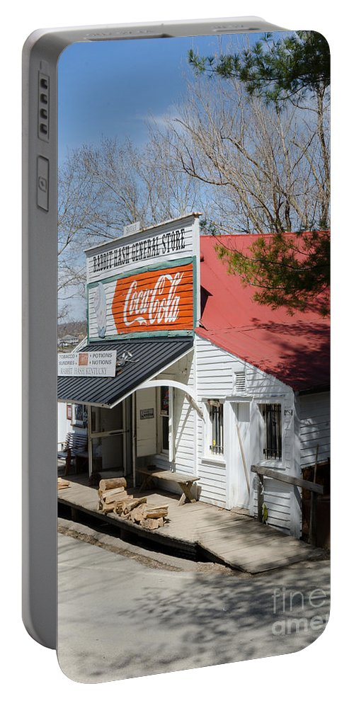 Color Portable Battery Charger featuring the photograph Rabbit Hash Store-front View Angle by Mary Carol Story