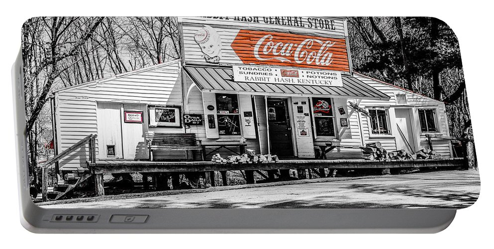 Winter Portable Battery Charger featuring the photograph Rabbit Hash Store-front View Sc by Mary Carol Story