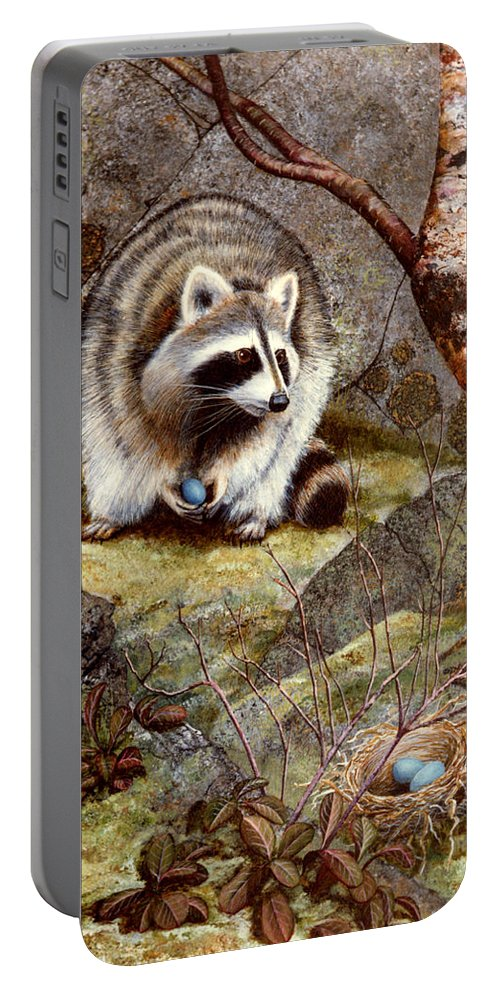 Raccoon Found Treasure Portable Battery Charger featuring the painting Raccoon Found Treasure by Frank Wilson