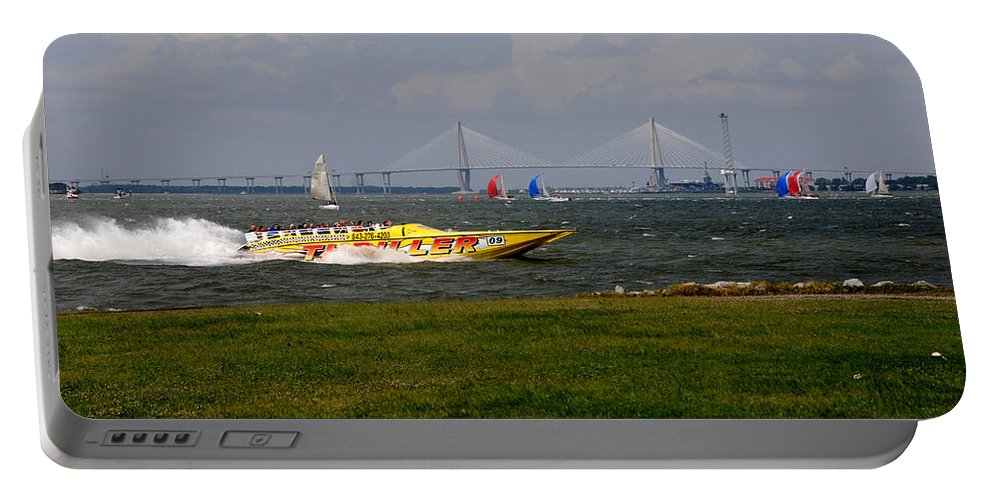 Photography Portable Battery Charger featuring the photograph Race Boat In Charleston by Susanne Van Hulst