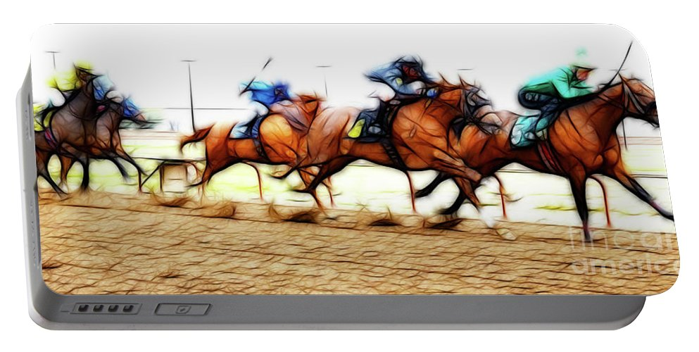 Jockey Portable Battery Charger featuring the photograph Racetrack Dreams 7 by Bob Christopher