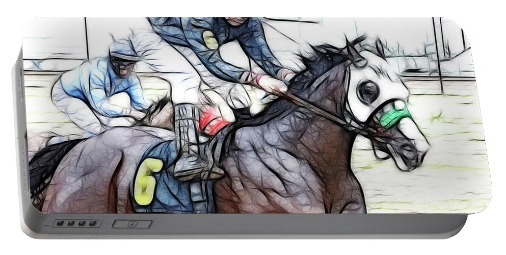 Jockey Portable Battery Charger featuring the photograph Racetrack Dreams 8 by Bob Christopher