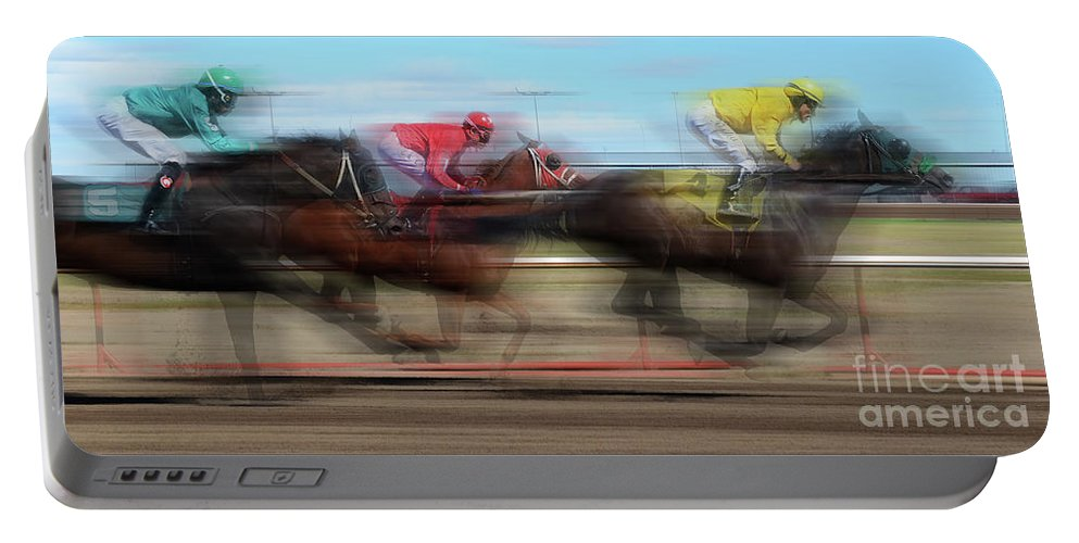 Jockey Portable Battery Charger featuring the photograph Racetrack Dreams by Bob Christopher