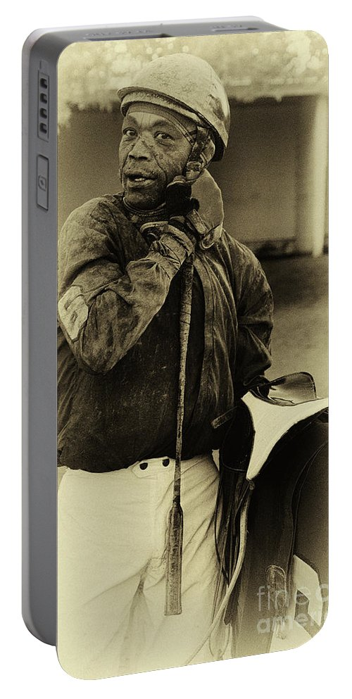 Jockey Portable Battery Charger featuring the photograph Racetrack Heroes 6 by Bob Christopher