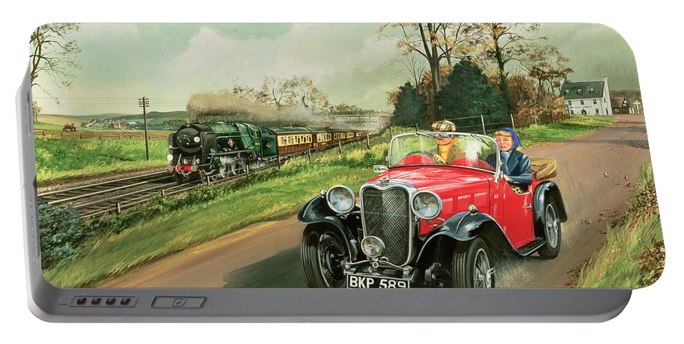 Car Portable Battery Charger featuring the painting Racing The Train by Richard Wheatland