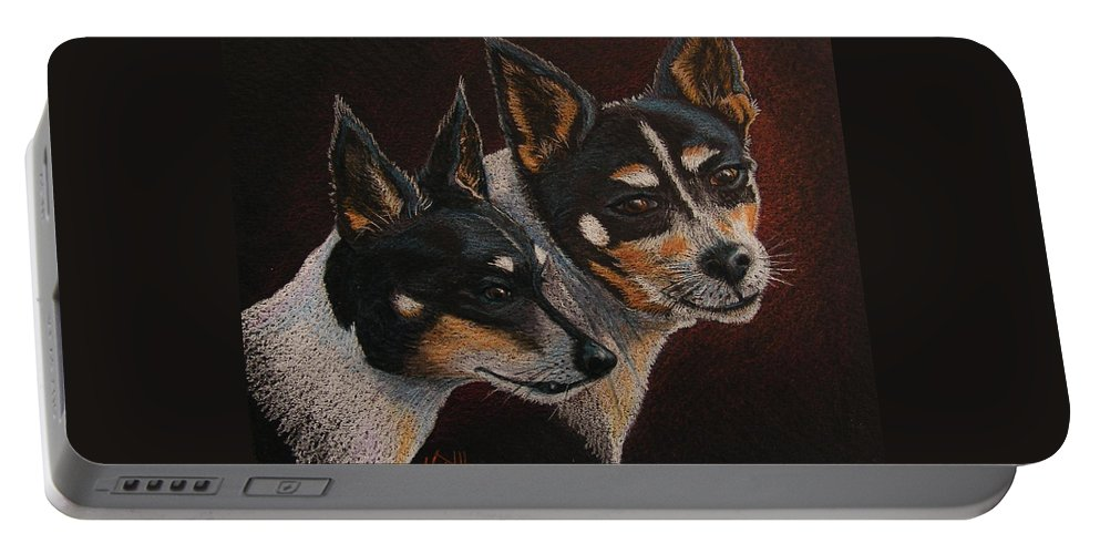 Dogs Portable Battery Charger featuring the drawing Radar And Ginger by Marilyn Smith