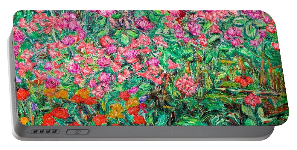 Kendall Kessler Portable Battery Charger featuring the painting Radford Flower Garden by Kendall Kessler