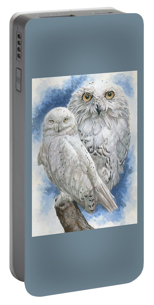 Snowy Owl Portable Battery Charger featuring the mixed media Radiant by Barbara Keith
