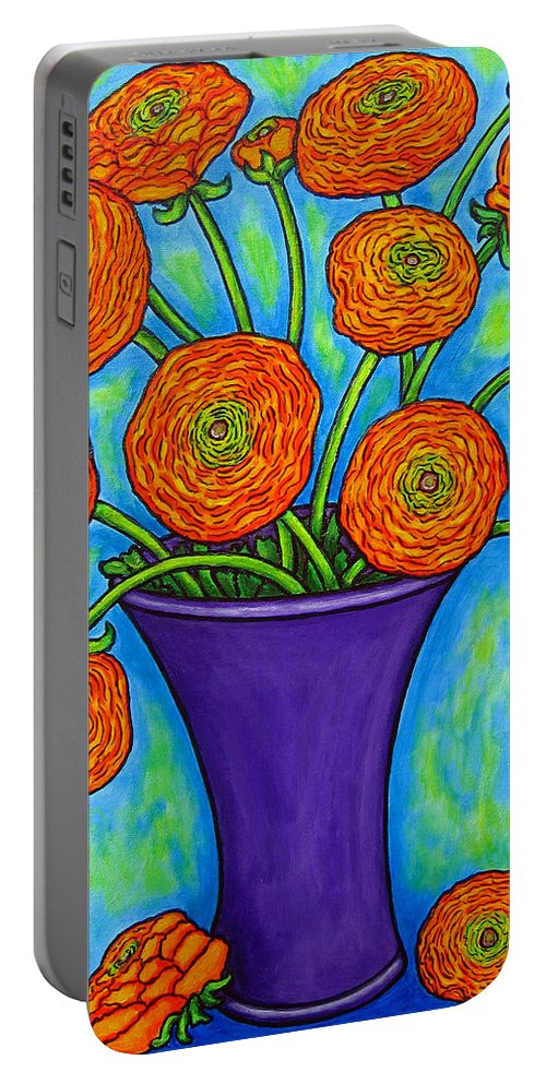 Green Portable Battery Charger featuring the painting Radiant Ranunculus by Lisa Lorenz
