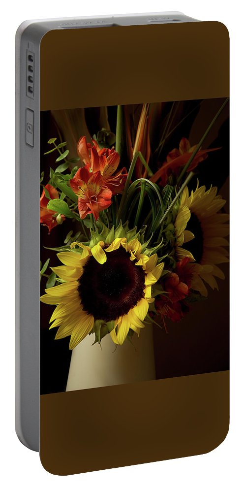 Sunflower Portable Battery Charger featuring the photograph Radiant Sunflowers And Peruvian Lilies by Marie Hicks