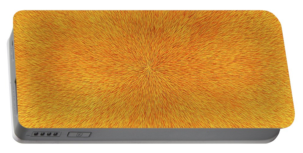 Dean Triolo Portable Battery Charger featuring the painting Radiation With Gold Red And Brown by Dean Triolo