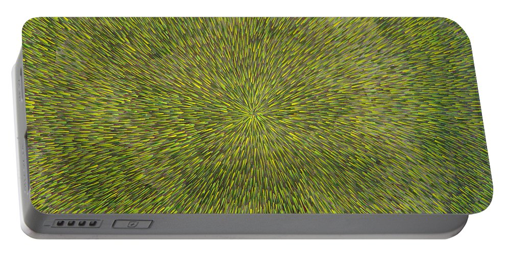 Abstract Portable Battery Charger featuring the painting Radiation With Green With Yellow by Dean Triolo