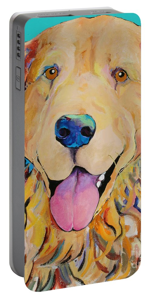 Golden Retriever Portable Battery Charger featuring the painting Radley by Pat Saunders-White